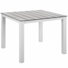 """Modway Maine 40"""" Outdoor Patio Aluminum Dining Table in White Light Gray MY-EEI-1507-WHI-LGR"""