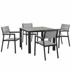 Modway Maine 5 Piece Outdoor Patio Aluminum Dining Set in Brown Gray MY-EEI-1745-BRN-GRY-SET