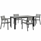 Modway Maine 5 Piece Outdoor Patio Aluminum Dining Set in Brown Gray MY-EEI-1747-BRN-GRY-SET