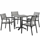 Modway Maine 5 Piece Outdoor Patio Aluminum Dining Set in Brown Gray MY-EEI-1761-BRN-GRY-SET