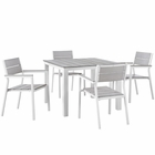 Modway Maine 5 Piece Outdoor Patio Aluminum Dining Set in White Light Gray MY-EEI-1745-WHI-LGR-SET