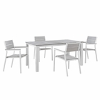Modway Maine 5 Piece Outdoor Patio Aluminum Dining Set in White Light Gray MY-EEI-1747-WHI-LGR-SET