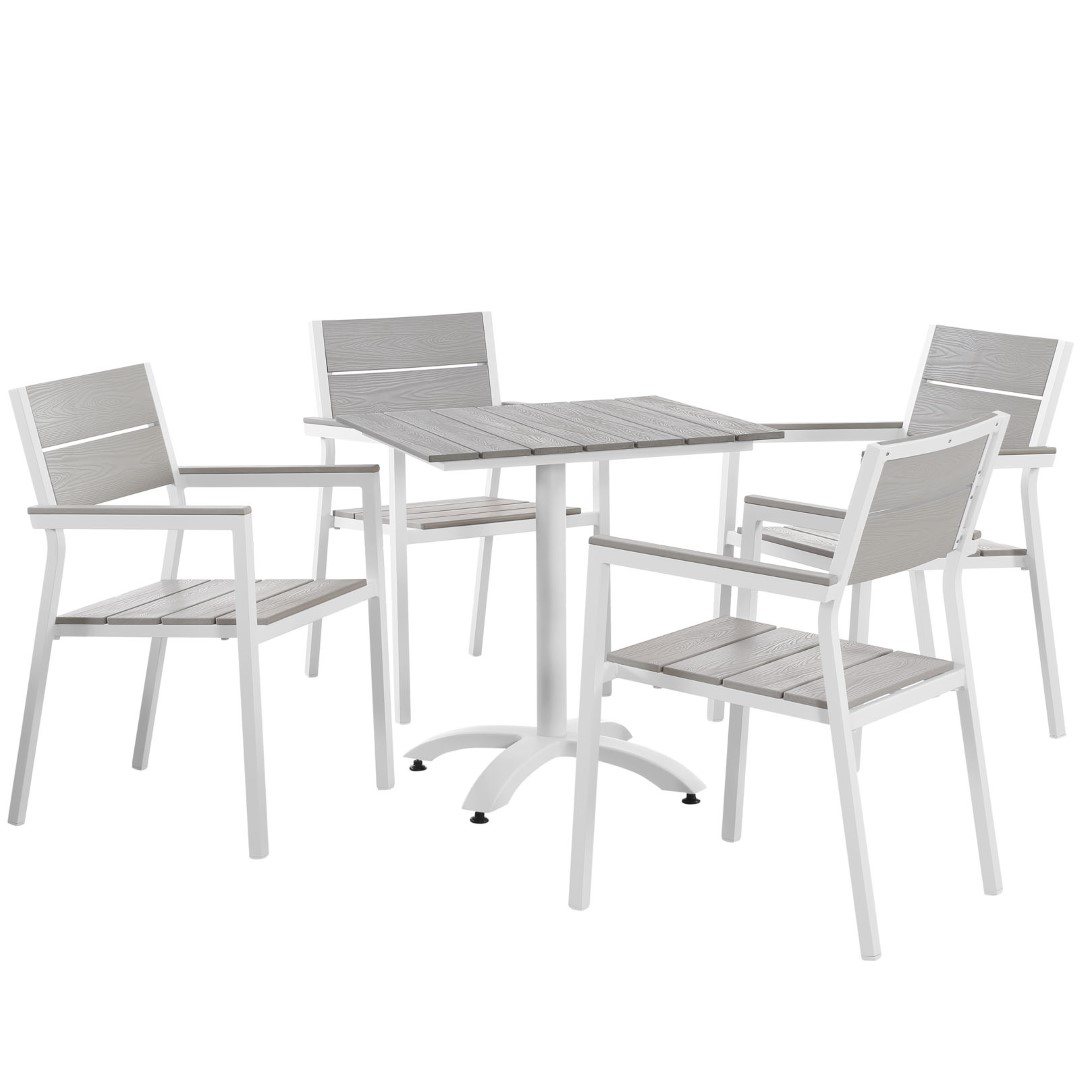 Modway Maine 5 Piece Outdoor Patio Aluminum Dining Set in White Light Gray MY-EEI-1761-WHI-LGR-SET