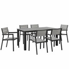 Modway Maine 7 Piece Outdoor Patio Aluminum Dining Set in Brown Gray MY-EEI-1749-BRN-GRY-SET