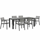 Modway Maine 7 Piece Outdoor Patio Aluminum Dining Set in Brown Gray MY-EEI-1751-BRN-GRY-SET