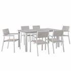 Modway Maine 7 Piece Outdoor Patio Aluminum Dining Set in White Light Gray MY-EEI-1749-WHI-LGR-SET