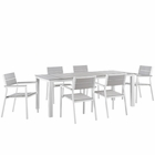 Modway Maine 7 Piece Outdoor Patio Aluminum Dining Set in White Light Gray MY-EEI-1751-WHI-LGR-SET