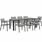 Modway Maine 9 Piece Outdoor Patio Aluminum Dining Set in Brown Gray MY-EEI-1753-BRN-GRY-SET