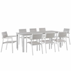 Modway Maine 9 Piece Outdoor Patio Aluminum Dining Set in White Light Gray MY-EEI-1753-WHI-LGR-SET