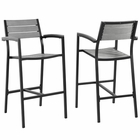Modway Maine Bar Stool Outdoor Patio Aluminum Set of 2 in Brown Gray MY-EEI-1740-BRN-GRY-SET