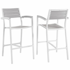 Modway Maine Bar Stool Outdoor Patio Aluminum Set of 2 in White Light Gray MY-EEI-1740-WHI-LGR-SET