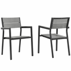 Modway Maine Dining Armchair Outdoor Patio Aluminum Set of 2 in Brown Gray MY-EEI-1739-BRN-GRY-SET