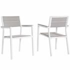 Modway Maine Dining Armchair Outdoor Patio Aluminum Set of 2 in White Light Gray MY-EEI-1739-WHI-LGR-SET
