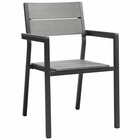 Modway Maine Dining Outdoor Patio Aluminum Armchair in Brown Gray MY-EEI-1506-BRN-GRY