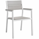 Modway Maine Dining Outdoor Patio Aluminum Armchair in White Light Gray MY-EEI-1506-WHI-LGR