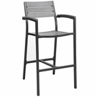 Modway Maine Outdoor Patio Aluminum Bar Stool in Brown Gray MY-EEI-1510-BRN-GRY