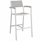 Modway Maine Outdoor Patio Aluminum Bar Stool in White Light Gray MY-EEI-1510-WHI-LGR