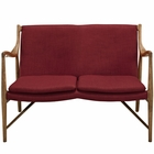 Modway Makeshift Upholstered Fabric Loveseat in Maple Red MY-EEI-1441-MAP-RED