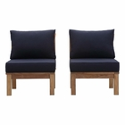 Modway Marina 2 Piece Outdoor Patio Premium Grade A Teak Wood Set in Natural Navy MY-EEI-1821-NAT-NAV-SET