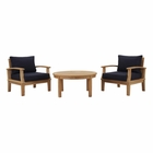 Modway Marina 3 Piece Outdoor Patio Premium Grade A Teak Wood Set in Natural Navy MY-EEI-1475-NAT-NAV-SET