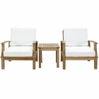Modway Marina 3 Piece Outdoor Patio Premium Grade A Teak Wood Set in Natural White MY-EEI-1487-NAT-WHI-SET