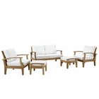 Modway Marina 5 Piece Outdoor Patio Premium Grade A Teak Wood Set in Natural White MY-EEI-1472-NAT-WHI-SET