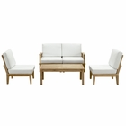 Modway Marina 5 Piece Outdoor Patio Premium Grade A Teak Wood Set in Natural White MY-EEI-1477-NAT-WHI-SET