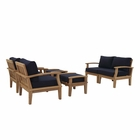 Modway Marina 6 Piece Outdoor Patio Premium Grade A Teak Wood Set in Natural Navy MY-EEI-1597-NAT-NAV-SET