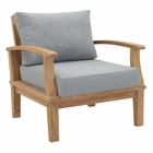 Modway Marina Outdoor Patio Premium Grade A Teak Wood Armchair in Natural Gray MY-EEI-1143-NAT-GRY-SET