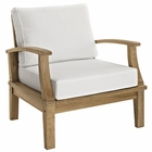 Modway Marina Outdoor Patio Premium Grade A Teak Wood Armchair in Natural White MY-EEI-1143-NAT-WHI-SET