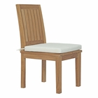 Modway Marina Outdoor Patio Premium Grade A Teak Wood Dining Chair in Natural White MY-EEI-2700-NAT-WHI