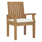 Modway Marina Outdoor Patio Premium Grade A Teak Wood Dining Chair in Natural White MY-EEI-2701-NAT-WHI