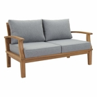 Modway Marina Outdoor Patio Premium Grade A Teak Wood Loveseat in Natural Gray MY-EEI-1144-NAT-GRY-SET