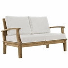 Modway Marina Outdoor Patio Premium Grade A Teak Wood Loveseat in Natural White MY-EEI-1144-NAT-WHI-SET