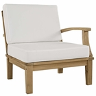 Modway Marina Outdoor Patio Premium Grade A Teak Wood Right-Facing Sofa in Natural White MY-EEI-1149-NAT-WHI-SET