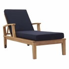 Modway Marina Outdoor Patio Premium Grade A Teak Wood Single Chaise in Natual Navy MY-EEI-1151-NAT-NAV-SET
