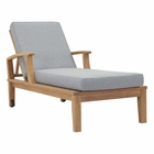 Modway Marina Outdoor Patio Premium Grade A Teak Wood Single Chaise in Natural Gray MY-EEI-1151-NAT-GRY-SET