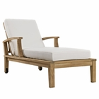 Modway Marina Outdoor Patio Premium Grade A Teak Wood Single Chaise in Natural White MY-EEI-1151-NAT-WHI-SET