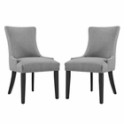 Modway Marquis Parsons Dining Side Chairs Upholstered Fabric Set of 2 in Light Gray MY-EEI-2746-LGR-SET