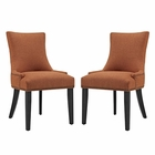 Modway Marquis Parsons Dining Side Chairs Upholstered Fabric Set of 2 in Orange MY-EEI-2746-ORA-SET