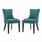 Modway Marquis Parsons Dining Side Chairs Upholstered Fabric Set of 2 in Teal MY-EEI-2746-TEA-SET