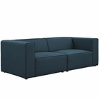 Modway Mingle 2 Piece Upholstered Fabric Sectional Sofa Set in Blue MY-EEI-2825-BLU
