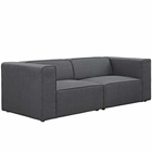 Modway Mingle 2 Piece Upholstered Fabric Sectional Sofa Set in Gray MY-EEI-2825-GRY