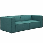 Modway Mingle 2 Piece Upholstered Fabric Sectional Sofa Set in Teal MY-EEI-2825-TEA