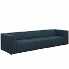 Modway Mingle 3 Piece Upholstered Fabric Sectional Sofa Set in Blue MY-EEI-2827-BLU