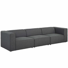 Modway Mingle 3 Piece Upholstered Fabric Sectional Sofa Set in Gray MY-EEI-2827-GRY
