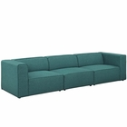 Modway Mingle 3 Piece Upholstered Fabric Sectional Sofa Set in Teal MY-EEI-2827-TEA