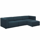 Modway Mingle 4 Piece Upholstered Fabric Sectional Sofa Set in Blue MY-EEI-2831-BLU