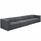 Modway Mingle 4 Piece Upholstered Fabric Sectional Sofa Set in Gray MY-EEI-2829-GRY