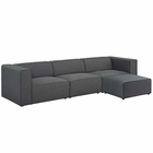 Modway Mingle 4 Piece Upholstered Fabric Sectional Sofa Set in Gray MY-EEI-2831-GRY